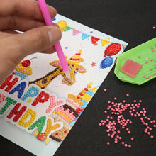 Load image into Gallery viewer, 6pcs Cartoon Greeting Cards DIY Diamond Painting Birthday Postcards Craft