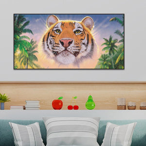 Tiger Animal 35x20cm(canvas) partial round drill diamond painting