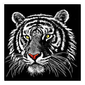 Black Tiger 25x25cm(canvas) partial round drill diamond painting