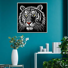 Load image into Gallery viewer, Black Tiger 25x25cm(canvas) partial round drill diamond painting