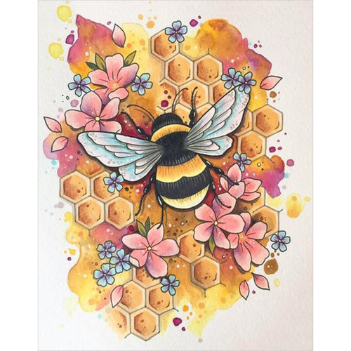 Bee 40x30cm(canvas) full round drill diamond painting