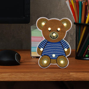 Creative DIY Full Drill Diamond Painting Bear LED Light Bedroom Night Lamp