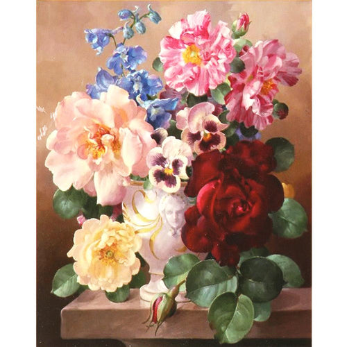Colorful Flowers Cotton Thread Cross Stitch DIY Needlework Embroidery Kits