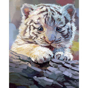 Baby Tiger 25x30cm(canvas) partial round drill diamond painting