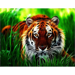 Tiger Grass 40x30cm(canvas) full round drill diamond painting