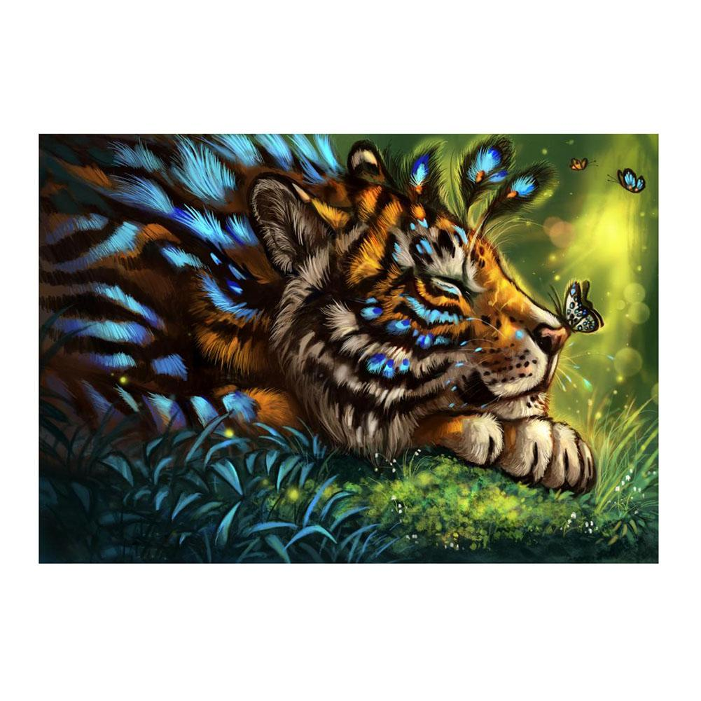 Flower Tiger 40x30cm(canvas) full round drill diamond painting