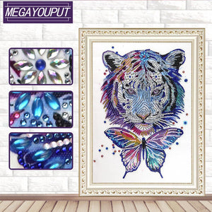 Tiger Butterfly 30x40cm(canvas) beautiful special shaped drill diamond painting