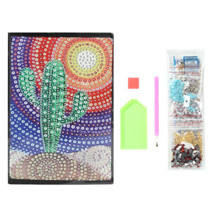 DIY Cactus Special Shaped Diamond Painting 60 Pages A5 Notebook Diary Book