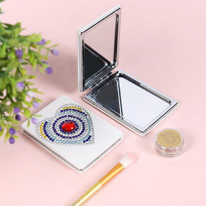 DIY Heart Special Shaped Diamond Painting Mini Makeup Mirror Vanity Mirrors
