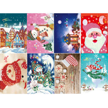Load image into Gallery viewer, 8pcs 5D DIY Drill Diamond Painting Greeting Card Birthday Xmas Party Gifts