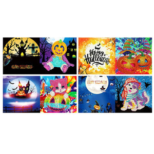 5D DIY Diamond Painting Greeting Card Special Shape Birthday Halloween Gift