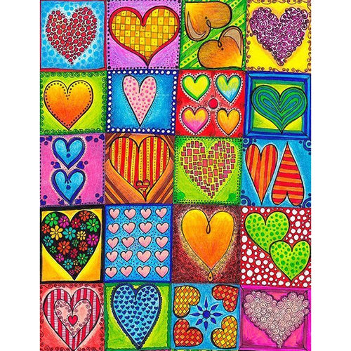 Heart 40x50cm(canvas) full round drill diamond painting