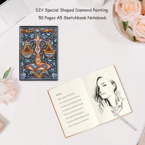 DIY Libra Special Shaped Diamond Painting 50 Pages A5 Notebook Sketchbook