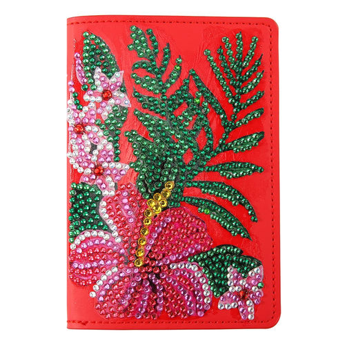 DIY Flower Special Shape Diamond Painting Leather Passport Protective Cover