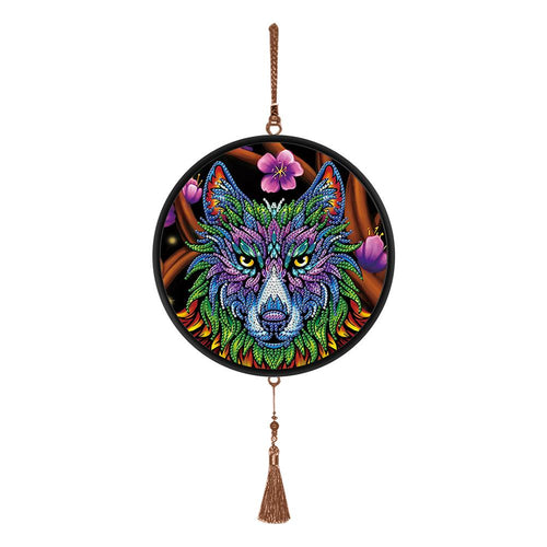 DIY Diamond Painting Full Drill Wolf Mural Coffee Tassel Home Wall Pendants