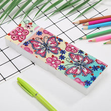 Load image into Gallery viewer, DIY Butterfly Special Shaped Diamond Painting 2 Grids Students Pencil Case