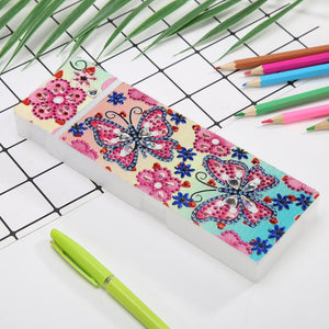 DIY Butterfly Special Shaped Diamond Painting 2 Grids Students Pencil Case