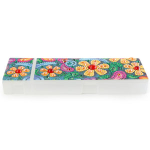 DIY Flower Special Shaped Diamond Painting 2 Grids Pencil Case Storage Box