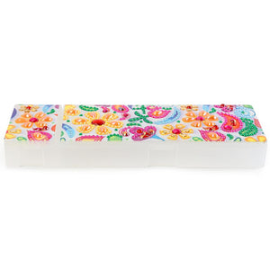 DIY Flower Special Shaped Diamond Painting 2 Grids Students Pencil Case