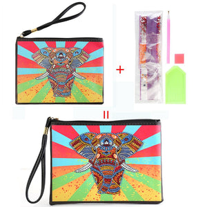 DIY Elephant Special Shaped Diamond Painting Wristlet Clutch Zipper Wallet