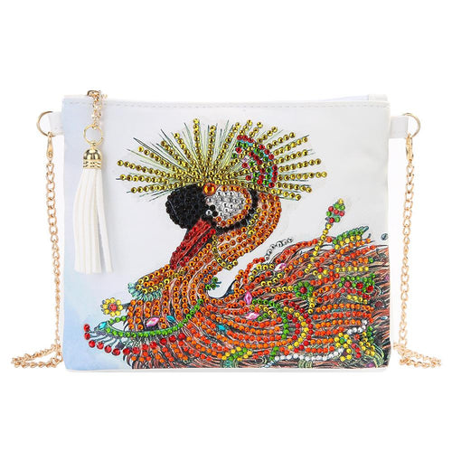 DIY Swan Special Shaped Diamond Painting Women Leather Chain Crossbody Bags
