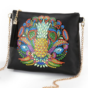 DIY Pineapple Special Shaped Diamond Painting Leather Chain Crossbody Bags