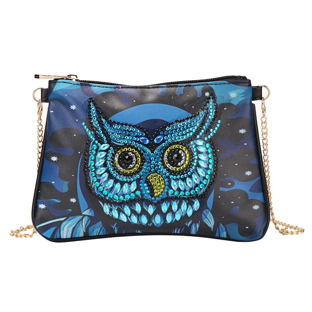 DIY Owl Special Shaped Diamond Painting Women Leather Chain Crossbody Bags