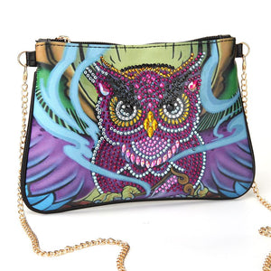 DIY Owl Special Shaped Diamond Painting Leather Crossbody Bags Chain Clutch