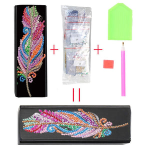 DIY Diamond Painting Leather Sunglasses Storage Box Portable Glasses Case