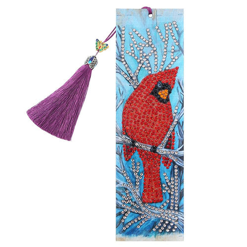 DIY Bird Special Shaped Diamond Painting Leather Bookmark Tassel Book Marks