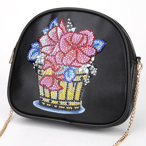 DIY Flowerpot Special Shaped Diamond Painting Leather Chain Shoulder Bags