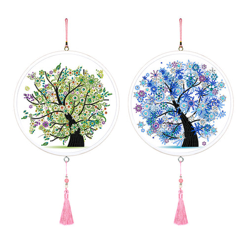 2pcs Tree Pendant Pink Tassel DIY Diamond Painting Special Shape Home Decor