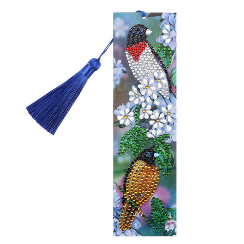 DIY Bird Special Shaped Diamond Painting Creative Leather Tassel Book Marks