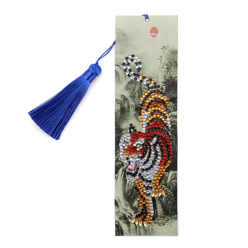 DIY Tiger Special Shape Diamond Painting Creative Leather Tassel Book Marks