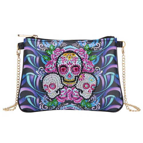 DIY Skull Special Shaped Diamond Painting Leather Clutch Chain Shoulder Bag