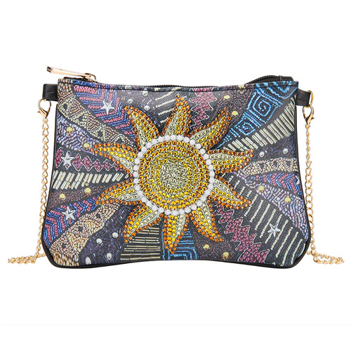 DIY Sun Special Shaped Diamond Painting Leather Clutch Chain Shoulder Bags