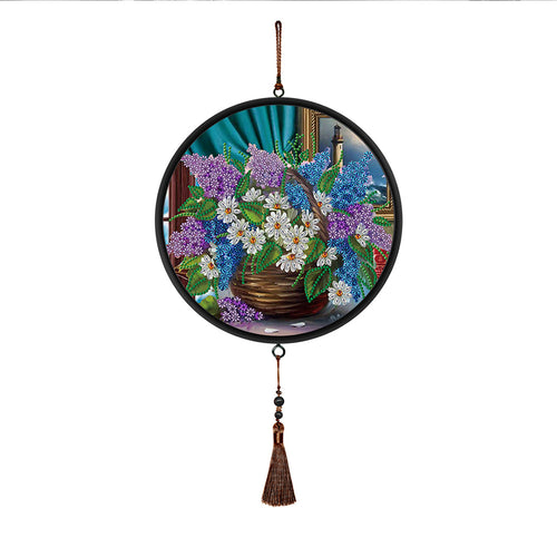 DIY Flower Special Shaped Diamond Painting Mural with Brown Tassel Decor