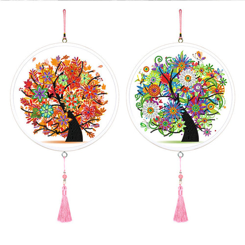 2pcs 5D DIY Diamond Painting Colorful Tree Round Framed Tassels Wall Mural