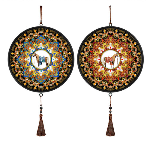 2pcs 5D DIY Special Shape Diamond Painting Horse Round Framed Tassels Mural