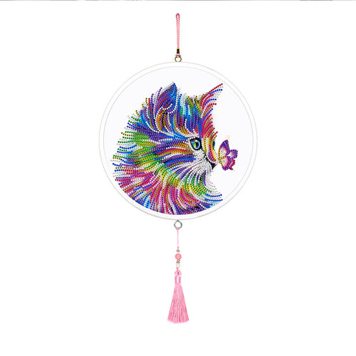 5D DIY Special Shape Diamond Painting Color Cat Framed Tassels Wall Mural