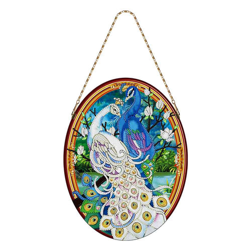 5D DIY Special Shape Diamond Painting Peafowl Leather Mural Wall Decoration