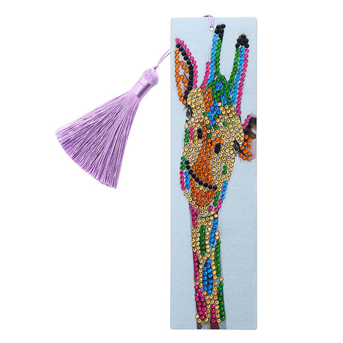 DIY Special Shape Diamond Painting Leather Tassel Bookmark Giraffe Logo