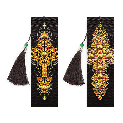2x 5D DIY Diamond Painting Cross Leather Bookmarks Tassel Embroidery Craft