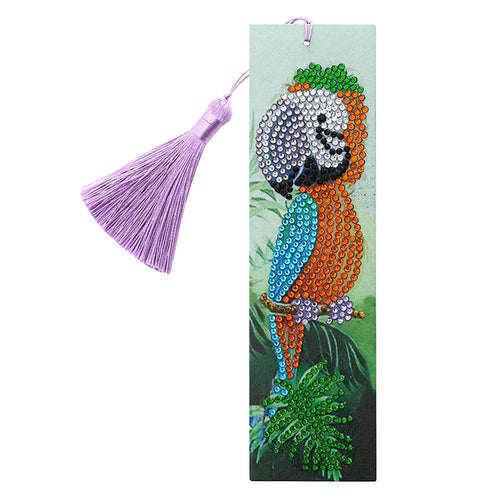 DIY Special Shape Diamond Painting Leather Bookmark Tassel Parrot Embroider