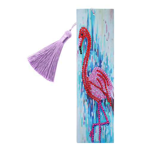 DIY Special Shape Diamond Painting Leather Bookmark Tassel Bird Book Logo
