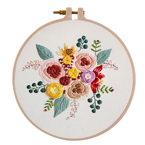 30X30cm DIY Colorful Flower Embroidery Needlework Cross Stitch Handwork (A)