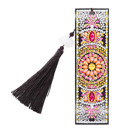 5D DIY Diamond Painting Round Plate Leather Bookmark Ornaments with Tassel