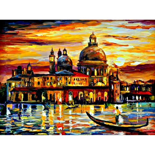 oil painting Seaside Castle 30x40cm(canvas) full round drill diamond painting