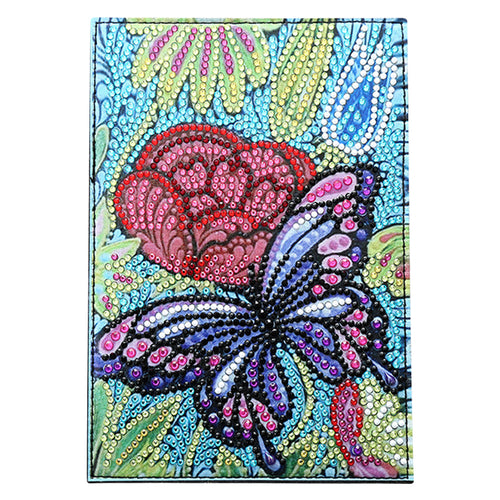 DIY Special Shaped Diamond Painting Butterfly PU Passport Protection Cover