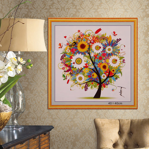 DIY Colorful Four Season Tree Counted Cross Stitch Kit Embroidery Summer